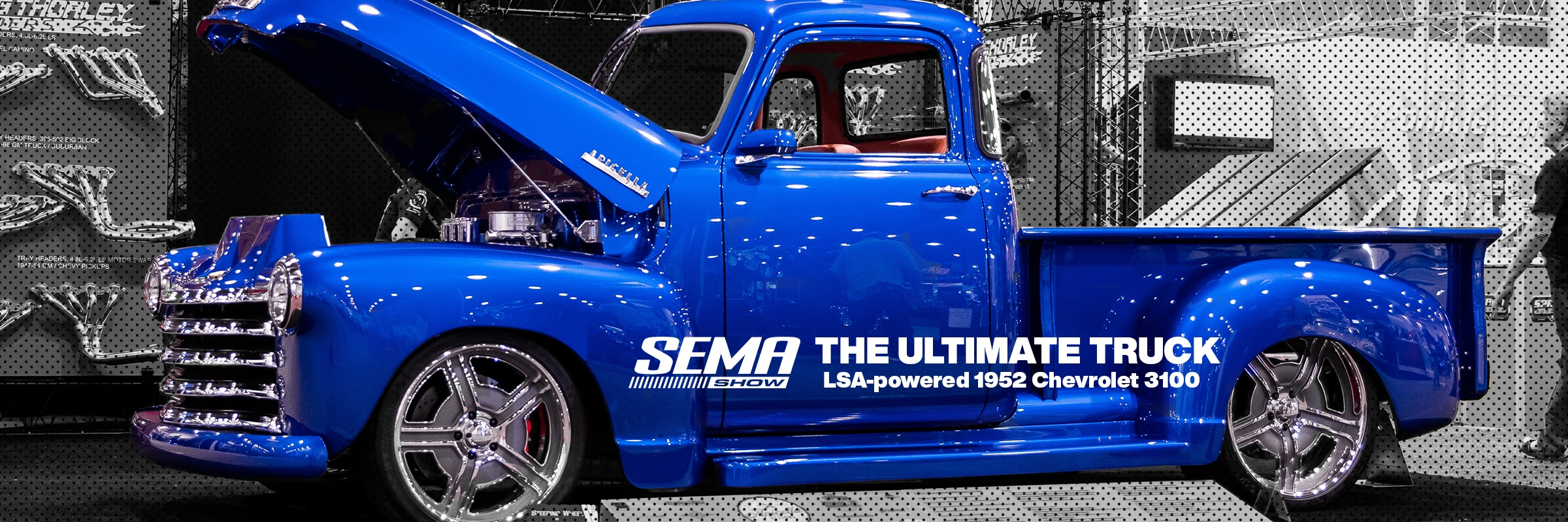 Vehicles, Parts, Chevrolet Performance, Chevy, Chevrolet, Parts, LSA, LSA Crate Engine, Supercharged, Supercharged Engines, Crate Engines, Engines, Chevy Trucks, Chevrolet Ultimate 3100, 1952 Chevy 3100, Apicella Designs, Premier Street Rod, Chevy SEMA, SEMA, SEMA Show, Las Vegas